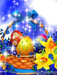 Easter Art, Easter Eggs, Holiday Gif, Holiday Decor, Happy Easter Gif, Gif Greetings, Easter Wallpaper, Vintage Easter, Holidays And Events
