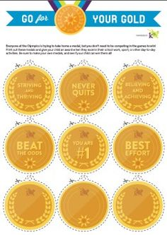 Print these gold medals to recognize your child for a job well done! Print these gold medals to recognize your child for a job well done! Olympic Idea, Olympic Games, Olympic Crafts, Olympic Medal Craft, Sports Medals, Kids Rewards, Olympic Gold Medals, Going For Gold, Sports Day