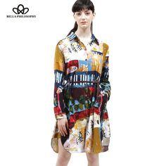 autumn winter cotton and linen ethnic Graffiti printed plus size women's clothing long sleeve long shirt blouse real photo