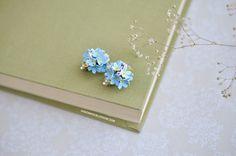 Forget me not clip on earrings, Forget me not jewelry, Myosotis earrings, flower clips earrings, blue flowers, clay flowers, fimo flower