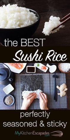 The Best Sushi Rice Recipe - it turns out perfectly seasoned and sticky every ti. The Best Sushi Rice Recipe - it turns out perfectly seasoned and sticky every time. Use it to make sushi rolls or sashimi. Very easy to make and stores well Best Sushi Rice, Sushi Rice Recipes, Sticky Rice Recipes, Rice For Sushi, Best Sushi Rolls, How To Roll Sushi, Cooking Sushi Rice, Sticky Rice Recipe For Sushi, Japan Rice Recipe