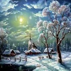 Merry Christmas Gif, Merry Christmas Pictures, Christmas Scenery, Winter Scenery, Vintage Christmas Cards, Christmas Art, Xmas, Winter Pictures, Nature Pictures
