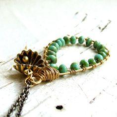 Green Sea Shell Pendant Necklace Brass Teardrop Beadwork Wire Wrap Handmade Fashion Jewellery on Etsy, $54.00