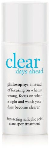 Philosophy Clear Days Ahead FastActing Salicylic Acid Acne Spot Treatment 05 Ounce *** You can find more details by visiting the image link. (This is an affiliate link) Philosophy Skin Care, Salicylic Acid Acne, Acne Spot Treatment, Acne Blemishes, Acne Spots, Clean Pores, How To Get Rid Of Acne, Facial Skin Care