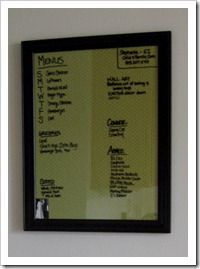 Dry Erase Board. Fabric behind a picture frame