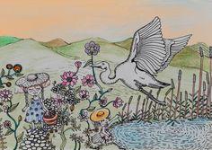 #egret , #birds , #lake , #flowerslovers , #vintage , #littlehakka