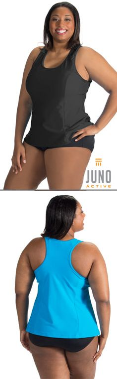 Plus size racer back tankini top only at JunoActive