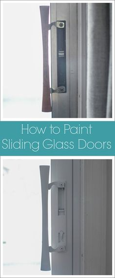 How to paint sliding glass doors - a quick and easy solution to ugly aluminum doors thanks to this tutorial by @lovelyetc. http://www.rustoleum.com/product-catalog/consumer-brands/painters-touch-ultra-cover-2x/satin/