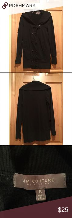 Black Button Up Jacket This jacket is so flattering. Fits well. Like a Pea coat but thinner material. Goes well with everything, whether you button it up or leave it open. Very comfortable, versatile and stylish. MM Couture Jackets & Coats