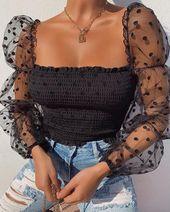 Off Shoulder Polka Mesh Long Sleeve Tops RK. Fashion 2020, Look Fashion, Winter Fashion, Fashion Outfits, Womens Fashion, Fashion Clothes, Street Fashion, Fashion Ideas, Parisian Fashion