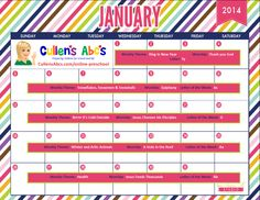 Use this calendar with your child or classroom and follow along with the lesson plans on these themes in the DIY Online Preschool. To help foster an excitement for learning be sure to print this out and hang it where children can see it and ask questions. Feel free to contact us at CullensAbcs@gmail.com with any questions.