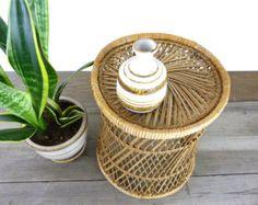 small Vintage woven rattan stool/ side table/ basket // boho decor