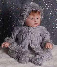 Hand Knitted Silver Jacket, Hat & Leggings-  000, 2-3 mths or Reborn Baby Boy