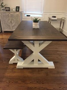 Free Local Delivery (Read Table Description for Details) - Freight Shipping Not Available Farmhouse Dining Room Table, Dinning Room Tables, Farmhouse Furniture, Wood Tables, Side Tables, Farmhouse Table With Bench, Dinning Table With Bench, Rustic Bench, Trestle Table