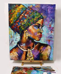 Único e Criativo African women portrait African women painting, Ethnic painting . Afro Painting, Woman Painting, Oil Painting On Canvas, Figure Painting, Canvas Art, African Art Paintings, African Artwork, African Prints, African Fabric
