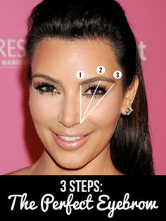 Kim Kardashian hasn't always had the perfect brows but in three easy steps, we can show you how to tackle those unruly eyebrows. Don't know where your eyebrows should start, arch and end? It's easy as 1, 2, 3! Use a make up brush or ruler and hold it against the outside of your nostril straight up past the inner corner of your eye. This is where your eyebrow should start. Hold the ruler again from the outside of your nostril and straight past the middle of your eye. Where the ruler hits your brow, this is where your eyebrow should arch. One more time, hold the ruler againstthe outside of your nostril in line with the outside corner of your eye. This is where your brow should end!