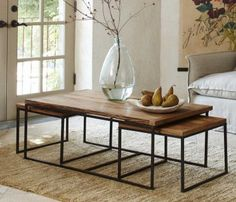 railroad tie coffee table with nesting tables Decor, Coffee Table, Dining Table Chairs, Nesting Coffee Tables, Table, Artisan Furniture, Nesting Tables, Interior, Furniture