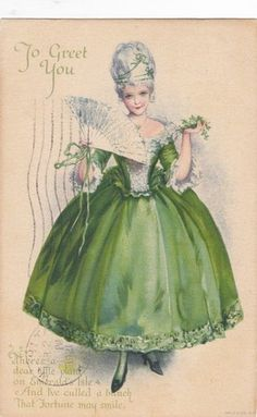 Antique pretty lady wearing green dress - mini Marie, maybe?
