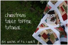Christmas Table Topper-by Rachel Griffith-you have a SUPER cute christmas table topper!!! measuring 48″ x 48″ it still makes the cut as a cozy christmas lap quilt too.