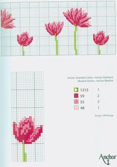 Pink Flower Motif (part fre Cross Stitch Needles, Beaded Cross Stitch, Cross Stitch Borders, Modern Cross Stitch, Cross Stitch Flowers, Cross Stitch Designs, Cross Stitching, Cross Stitch Embroidery, Cross Stitch Patterns