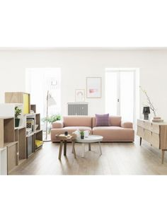 I could pretty much live in a home completely furnished in Muuto. Ugh, you're so good, Muuto. Modular Couch, Modular Furniture, Living Room Inspiration, Interior Inspiration, Home Living Room, Living Spaces, Living Area, Rosa Sofa, Deco Pastel