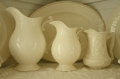 Pitchers..i have a hoarding problem with these!!! :)  ~  ☺ {me too, but mine are blue & white}!♥  ☺