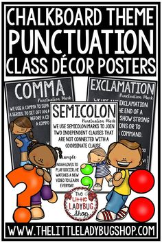 These beautiful Punctuation Mark Posters in chalkboard décor theme or in white classroom décor theme are perfect for your classroom! You will love having these Punctuation Mark Anchor Charts in your classroom on display! #punctuationposters #writingposters