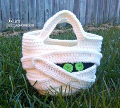 Mummy Trick or Treat Bag by Jenna Johnston | Crocheting Pattern - Looking for your next project? You're going to love Mummy Trick or Treat Bag by designer Jenna Johnston. - via @Craftsy