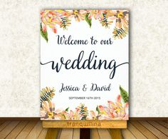 Floral Wedding Welcome Sign Printable, Digital File - Wedding Welcome Poster - Wedding reception Sign - pinned by pin4etsy.com