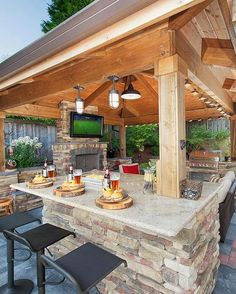 37 Stunning Gazebo Decorating To Make Your Backyard. Install an outdoor gazebo and revel in your backyard like you can't ever have before. If you think that your backyard is too open to curious onlookers. Outdoor Design, Outdoor Kitchen Design, Backyard Design, Outdoor Fireplace, Gazebo Bar, Outdoor Decor, Backyard Kitchen, Outdoor Kitchen Countertops, Patio Design