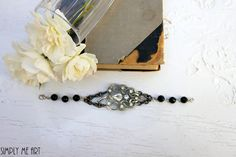 Vintage Rhinestone and Onyx One of a Kind by simplymeart on Etsy, $59.00