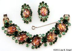 Juliana Green Cat's Eye Bracelet & Earrings Set  http://www.rubylane.com