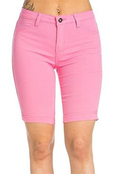 d7c0d8f4d7 Revolutee Womens Bodycon Stretch Skinny Straight Leg Bermuda Short