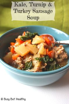Kale, Turnip and Turkey Sausage Soup - warm and delicious soup in under 30 minutes. Gluten-free.