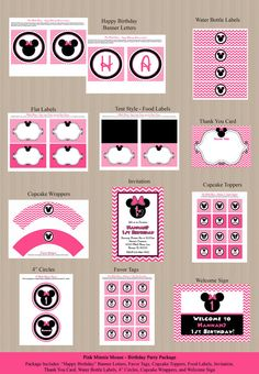 Chevron Minnie Mouse Birthday Party Package  by Honeyprint on Etsy, $35.00