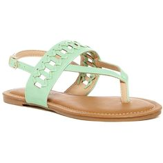 Elegant Footwear Cali Cutout Thong Sandal ($13) ❤ liked on Polyvore featuring shoes, sandals, mint, vegan shoes, mint sandals, woven sandals, slingback sandals and vegan sandals