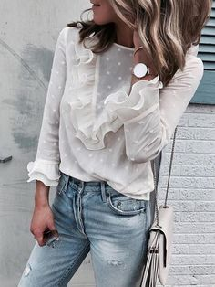 Button OL Shirts Elegant Female Workwear Blouses Butterfly Sleeve Autumn Women White Blouse Woman Tops Plus Size Blusas Style Casual, Casual Tops, My Style, Basic Style, Smart Casual, Casual Shirts, Mode Outfits, Casual Outfits, Casual Clothes