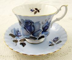 Royal Albert Blue Tea Cup and Saucer with Blue Rose, Vintage Bone China