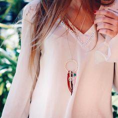@carolanneroux heelsongasoline for wearing le petit cartel handmade jewelry neckalce DREAMS in silver 925 !