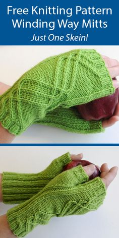 One Skein Fingerless Mitts Knitting Patterns - In the Loop Knitting Beginner Knitting Patterns, Free Knitting, Knitting Projects, Knitting Ideas, Knitted Cushion Pattern, Knitted Cushions, Fingerless Gloves Knitted, Knitted Hats, Fingering Yarn