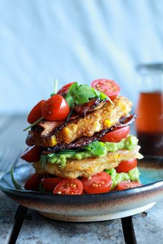 Avocado and Gouda BLT Corn Fritter Stacks with Chipotle Bourbon Dressing - oh my!!