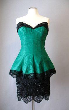 Vintage 80s Dress FABRICE Beaded Peplum Strapless Small bust 34