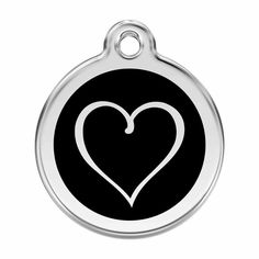 Tribal Love Heart Black Pet Dog Cat ID Tag Personalised Engraved Steel Tags #RedDingo