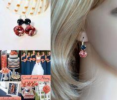 Handmade Swarovski Padparadscha & Montana Crystal Earrings (Sparkle-2632-PRM) #Handmade #DropDangle