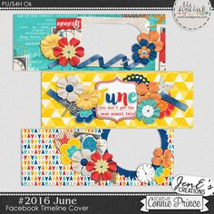 #2016 June - Facebook Timeline Covers by JenE to coordinate with #2016 June by Connie Prince. Includes 3 Facebook timeline covers, saved in PNG format. Shadows ARE included. These images are only suitable for web use, not print. Scrap for hire / others ok.
