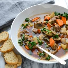 Healthy Vegetable Beef Soup With Olive Oil, Onions, Button Mushrooms, Chuck Roast, Turnips, Medium Carrot, Diced Tomatoes In Juice, Fresh Thyme, Fresh Rosemary, Bay Leaves, Low Sodium Beef Broth, Kale, Farro, Salt, Pepper