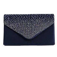 164efb1d48 Padoora Women Sparkling Rhinestone Satin Frosted Evening Bag Handbag Clutch  Pursedark blue * Check out this