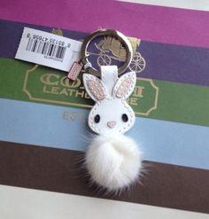 New Coach 92869 Patent Leather Mink Fur Bunny Rabbit Keychain Key Fob Keyring   eBay