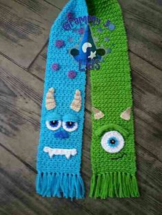 Monster Scarf By JoAnne Grimm Thompson - Purchased Crochet Pattern - One Size Fits Adults And Children - (ravelry) Bonnet Crochet, Knit Or Crochet, Cute Crochet, Crochet Scarves, Crochet For Kids, Crochet Shawl, Crochet Crafts, Yarn Crafts, Crochet Clothes