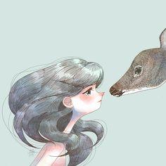 art,illustration,cute girl,deer